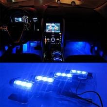 Maison intelligente Éclairage 12 V 4×3 LED Universel Bleu Atmosphère Lumières Décoratif Lampes Pour Voiture O2