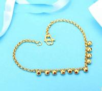 New Authentic 999 Solid 24k Yellow Gold Bracelet/ Big Beads Bracelet/ 4.9g