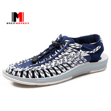 Men Beach Sandals Design Superstar Hand-woven Breathable Men Slippers Fashion Walking Lace Up Men Sandals Flat Shoe Flip Flop