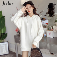 Jielur Women's Sweatshirts Fashion Solid Color Gold Velour Winter Female Hoodies Hooded Leisure Warm Long Tracksuit White M XL