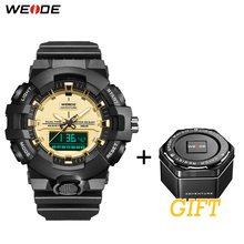 WEIDE Mens Watch 50 Meters Waterproof Clock Sports Alarm Date Analog Digital Military Army Quartz PU Strap Band Wrist Watch все цены