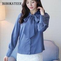 BOBOKATEER White Shirt Women Tops Chiffon Blouse Top Long Sleeve Women Blouses Blusas Mujer Camisas Femininas