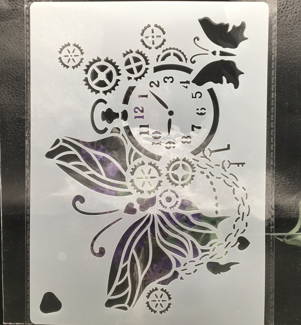 220*160mm Gear Clock Butterfly DIY Layering Stencils Wall Painting Scrapbook Coloring Embossing Album Decorative Card Template