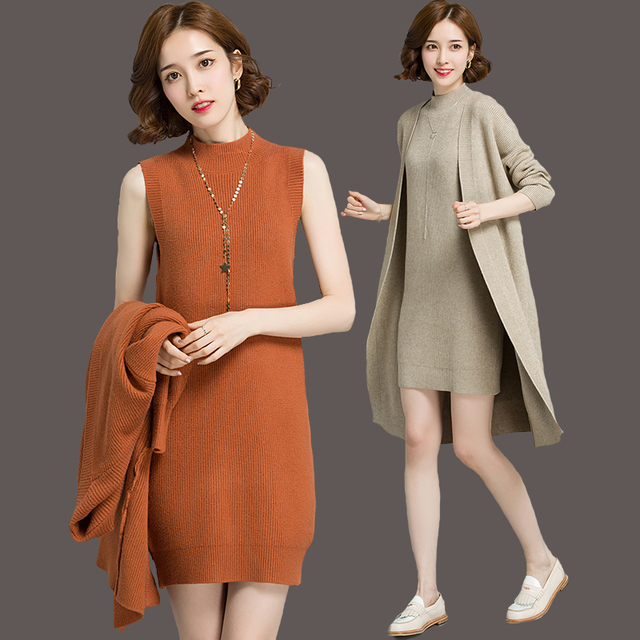 0516b06e47bcca 2pcs Autumn Women Slim Knitted Plus Size Suit OL Lady Long Sleeve Cardigan  Long Top Knitting Strapless Dress Clothing Set