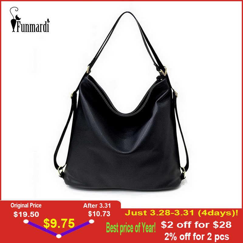 ba4dd735f744 FUNMARDI мульти-функция кожаные женские сумки роскошные рюкзаки Hobos  дизайнерская сумка на плечо Модные женские