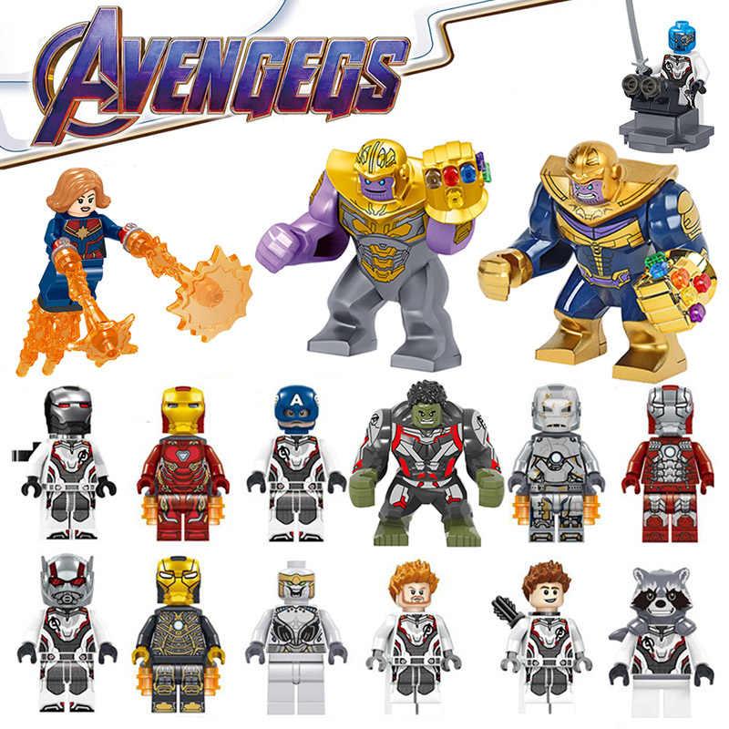 Thanos Captain Marvel Avengers 4 Endgame บล็อก Iron Man Hulk Spiderman กัปตันอเมริกาตัวเลขบล็อกของเล่นสำหรับเด็ก