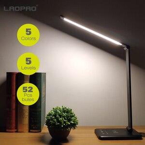 52 pces lâmpada de mesa led 5 modos de cor x5 níveis dimable toque usb exigível leitura olho-proteger com temporizador lâmpada de mesa led