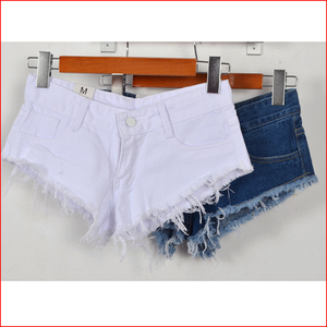 Fashion Summer Hot Denim Shorts women Sexy hole White Frayed Edges Low Waist short 2017 Ladies casual pockets Ripped Shorts
