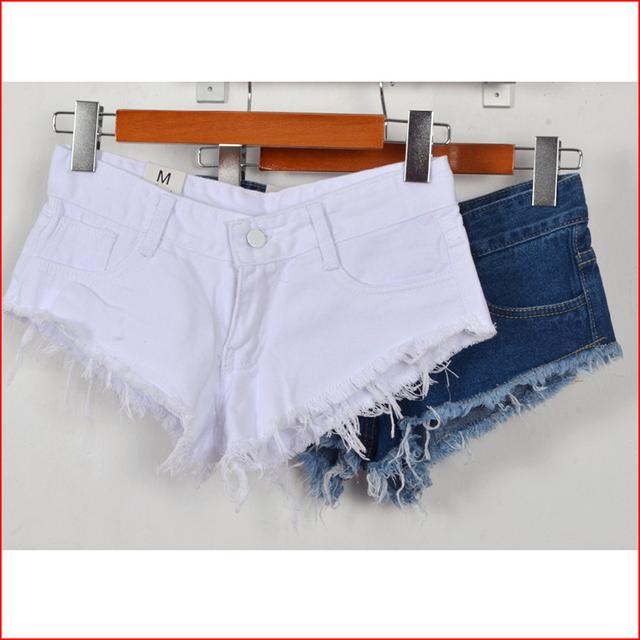 Moda Verão Quente Shorts Jeans mulheres buraco Sexy Branco Bordas Desgastadas Cintura Baixa curta 2017 Ladies casual bolsos Rasgado Calções