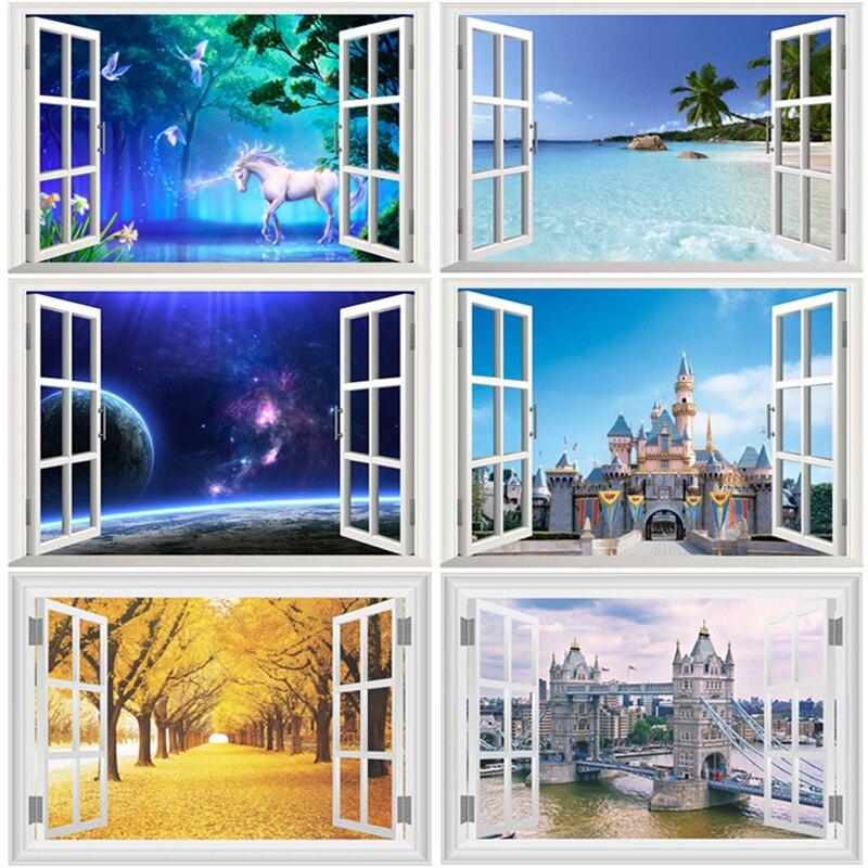 3d fenêtre Stickers muraux pour salon chambre étude chambre décor à la maison paysage mer colline Animal forêt espace Pvc Mural Art Stickers
