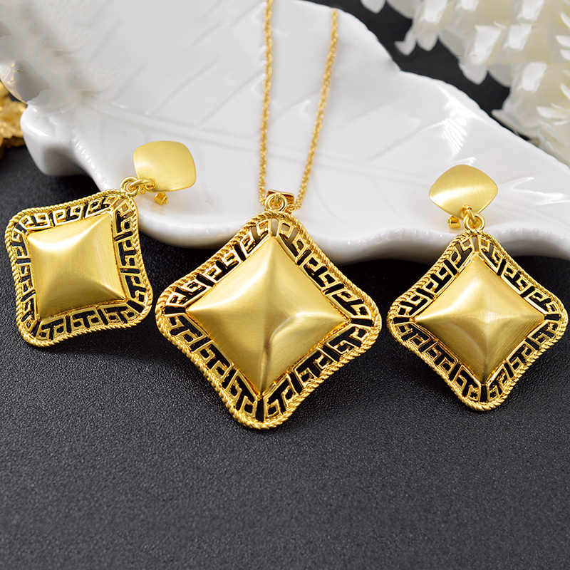 ZEA Dear Jewelry Big Square Jewelry Sets For Women Earrings Pendant Necklace For Party Wedding Jewelry Dubai Jewelry Findings