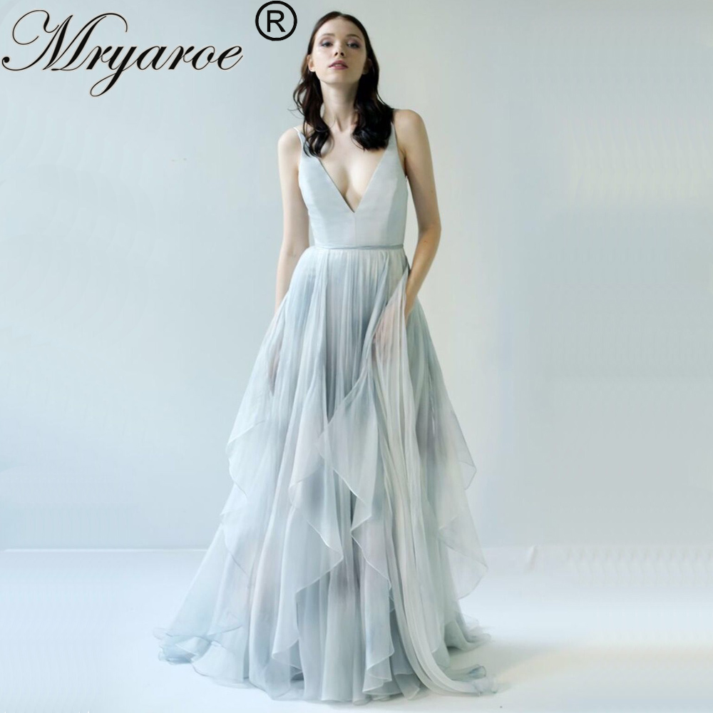 Mryarce 2019 Limited Gray and Blue Printed Silk Chiffon Wedding Dress Hand painted Fancy Open Back