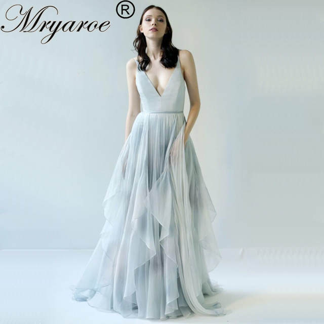 Us 268 77 7 Off Mryarce 2019 Limited Gray And Blue Printed Silk Chiffon Wedding Dress Hand Painted Fancy Open Back Bridal Gowns In Dresses