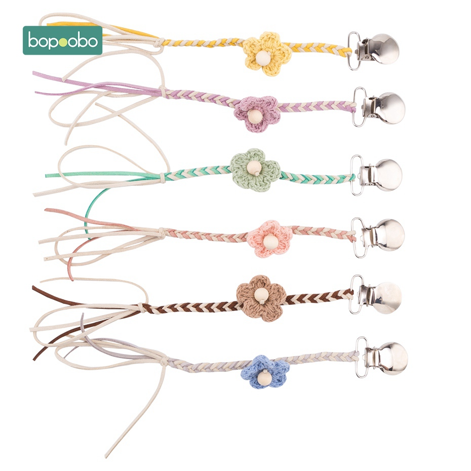 Bopoobo Baby Vintage Crochet Cotton Pacifier Clips Chain Dummy Clip Pacifier Holder Nipple Soother Chain For Infant Baby Feeding