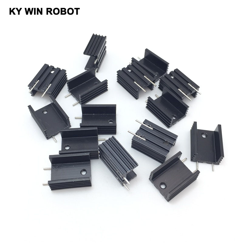 10pcs Free Shipping Aluminium TO-220 Heatsink TO 220 Heat Sink Transistor Radiator TO220 Cooler Cooling 15*10*20MM With 2Pin