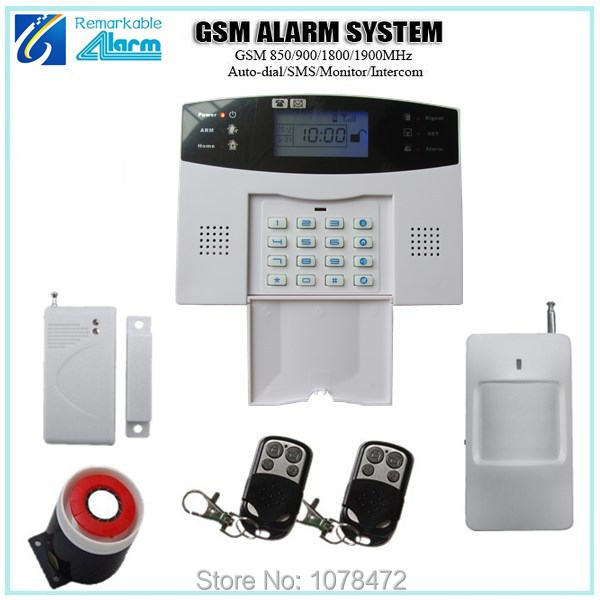Hot sale home security alarm system, Auto-dial SMS intercom GSM alarm system with GSM850/900/1800/1900Mhz ,door magnet hot sales lcd display wireless wired sms gsm alarm system auto dial gsm 850 900 1800 1900mhz home security gsm alarm system