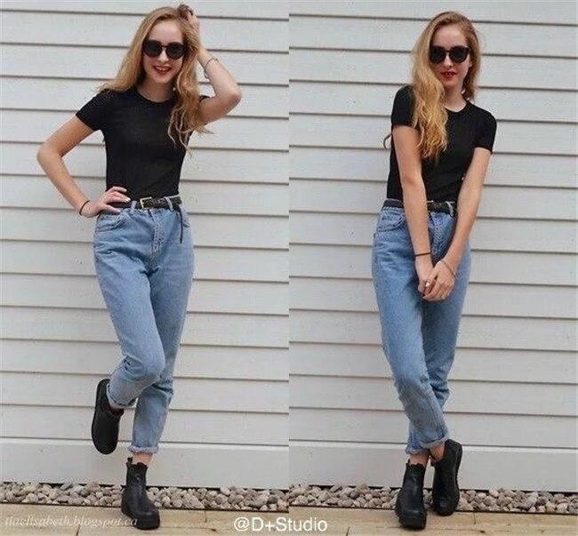 19 korean style women pencil denim pants high waist jeans woman casual vintage jeans boyfriend mom jeans light blue streetwear 10