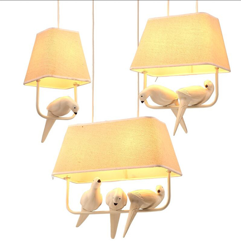 Lustres Rural Birds Pendant Lights Vintage Hanglamp Luminarias teto sala for Home Lighting Lampara Colgante Cloth lampshade E27