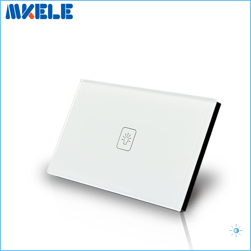 Touch Dimmer Switch US Standard Dimmer Touch Sensor Switche 1 Gang 1 Way White Glass Panel+LED Wall Light us au standard lamps dimmer remote switch 1gang1way white crystal glass panel wall remote light dimmer touch sensor switches