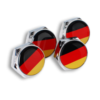 4PCS/Set Car Styling German Flag Car License Plate Bolts Screws with Gasket Modification For Car Models Metal Alloy Accessories
