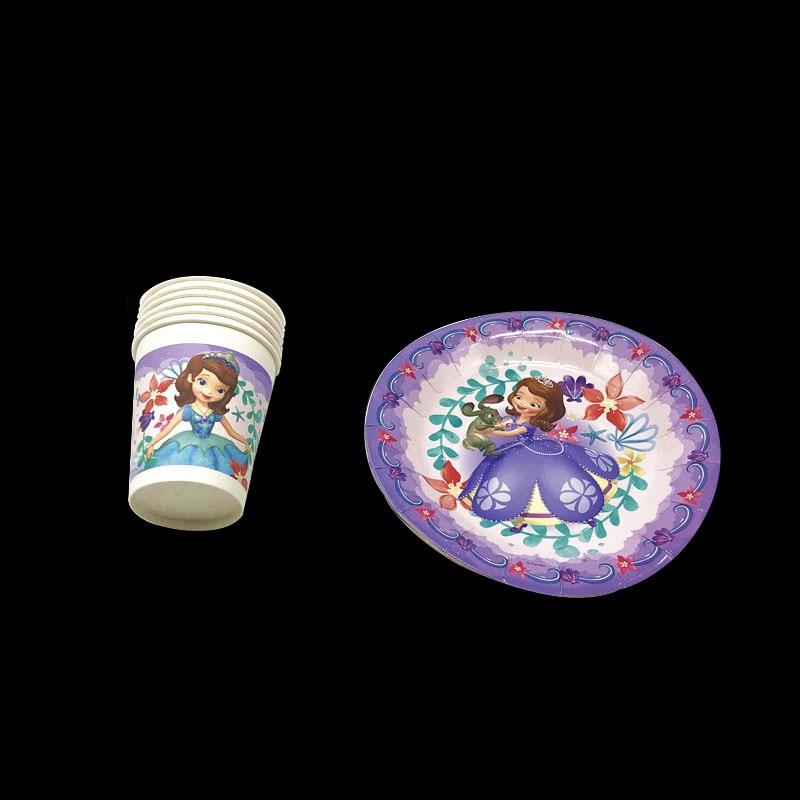 12Pcs Disney Princess Sofia Theme Disposable Tableware Kids Birthday Party Supplies Paper Plates Napkins decorations sets