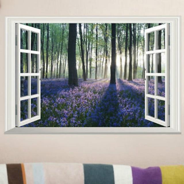 landscape 3d wall sticker large lavender forest window scene view