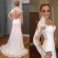 Vestidos De Noivas 2018 bridal gown Sexy Long Sleeve See Through Lace Appliqued Sheath mother of the bride Dress
