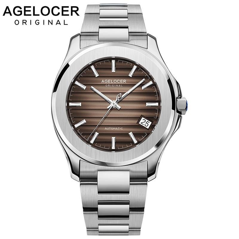 2019 Agelocer nouveaux hommes montre automatique Date jour luxe Top marque hommes montres Super lumineux en acier étanche montre 6303A9