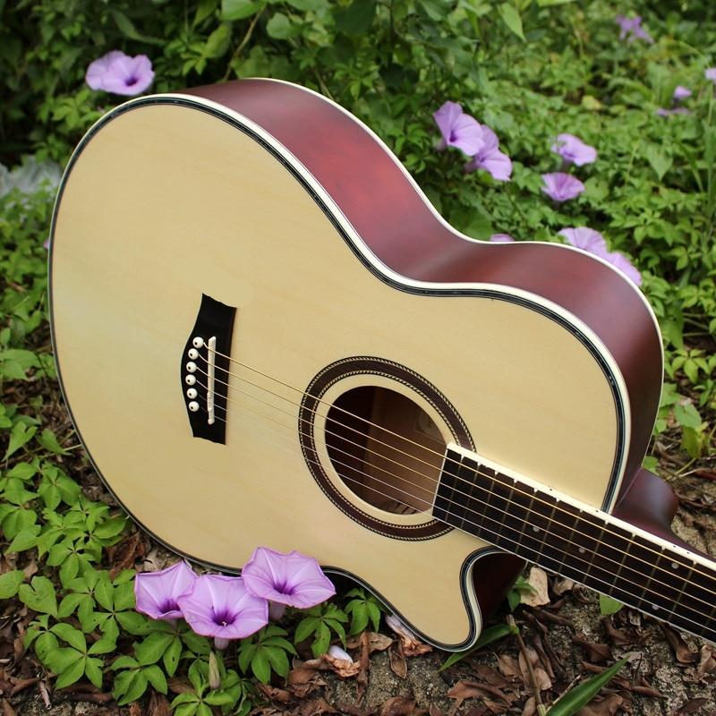 все цены на G40-2 guitars 40 inch Acoustic Guitar picea asperata wood guitarra with guitar tuner strings онлайн