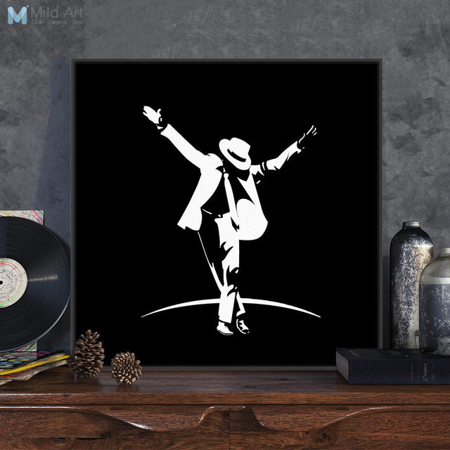 Modern Minimalist Black White Pop Music Dance Super Star Michael Jackson Poster Print Wall Art Picture Home Deco Canvas Painting