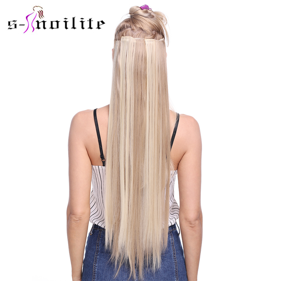 S-noilite 8PCS/Set 18Clips 26 Inch Clip In Hair Extensions  Synthetic Heat Resistant Long Straight Hair Extension