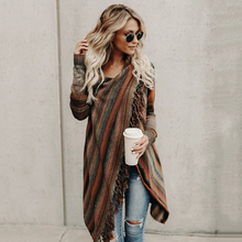 Casual Women Autumn Winter Fashion Long Robe Coats Vintage Stripped Long Sleeves Ladies Chic Streetwear Tassel Mujer WS4250P