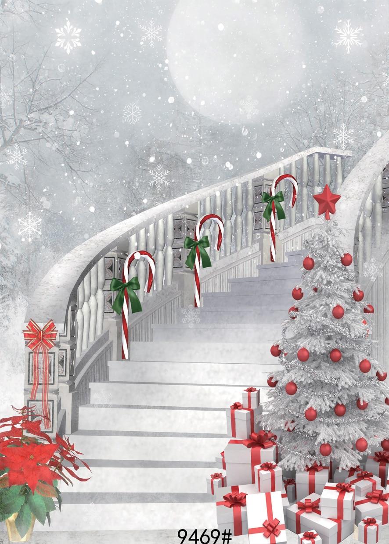 Fondo de escaleras de Navidad 5x7ft Telones de fondo Achtergronden - Cámara y foto