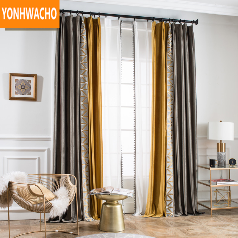 Custom curtains luxury simple modern grey flannel European living room thick velvet cloth blackout curtain tulle B011Custom curtains luxury simple modern grey flannel European living room thick velvet cloth blackout curtain tulle B011