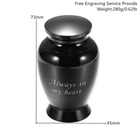 KLH00003 BlackAlways In My HeartEngraved Human Pet Memorial Forever Remembered Classic Mini Keepsake Urns for Human Ashes