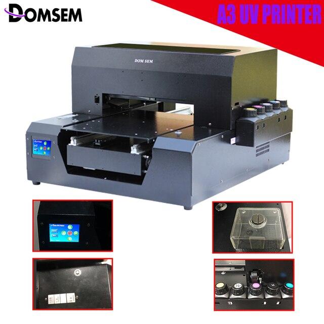 DOMSEM 6 colores A3 impresora UV para DIY de la caja del teléfono de la impresión de la insignia de Metal signos caja de regalo automática seco instantánea