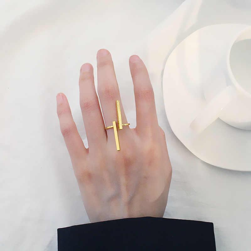 Doreen b eads 2018 แฟชั่นเครื่องประดับเปิดแหวนปรับขนาดทองเงินสีดำแหวนคู่สำหรับผู้ชายและผู้หญิง 1 ชิ้น