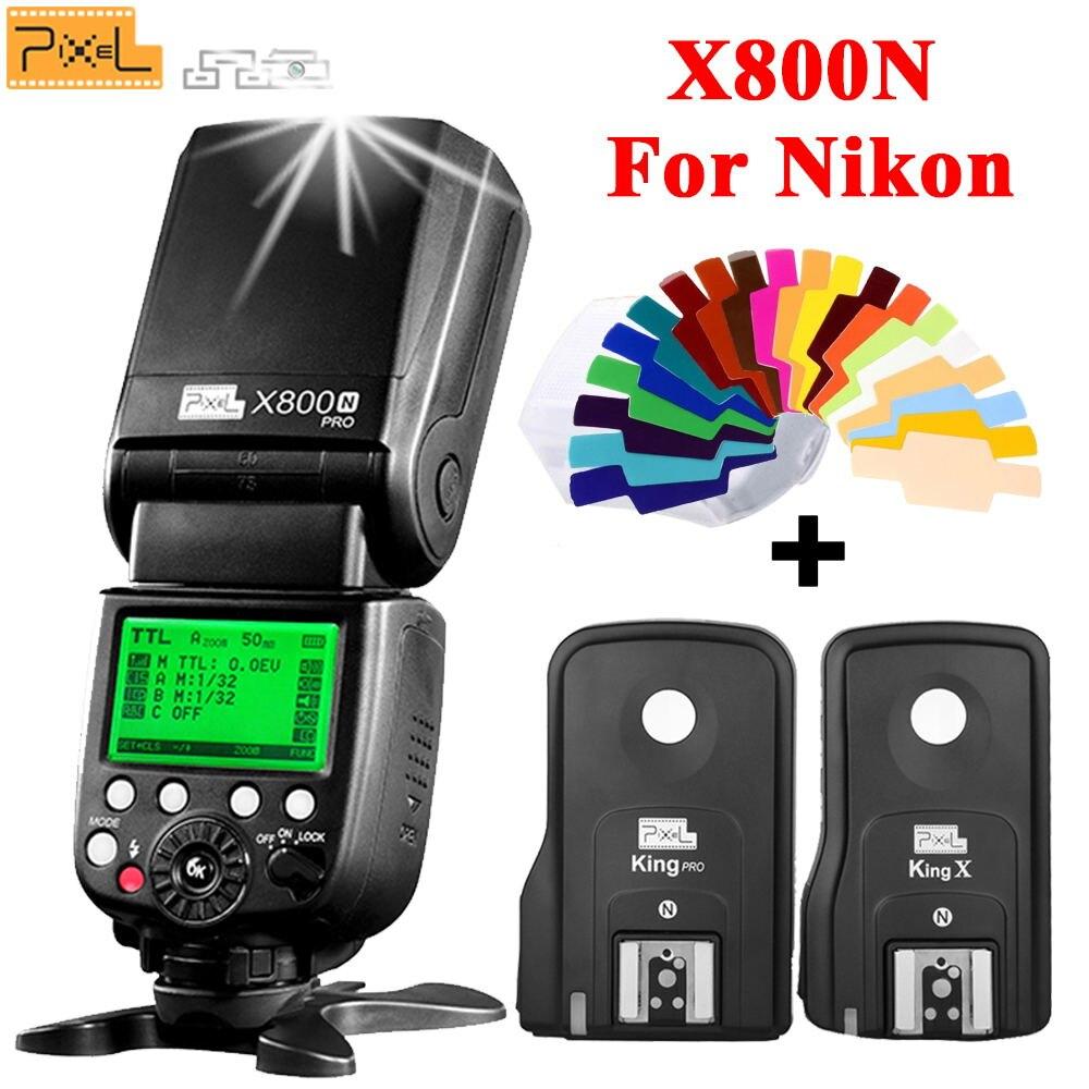 Radio 2.4G TTL 1/8000S Flash Speedlite Pixel X800N PRO Speedlight + PIXEL King Pro Flash Trigger For Nikon D3100 D7100 D90 D3300 pixel x800s standard gn60 hss ttl flash speedlite 2pcs king pro 2 4g flash trigger transceivers for sony a7 a7s a7r a7rii
