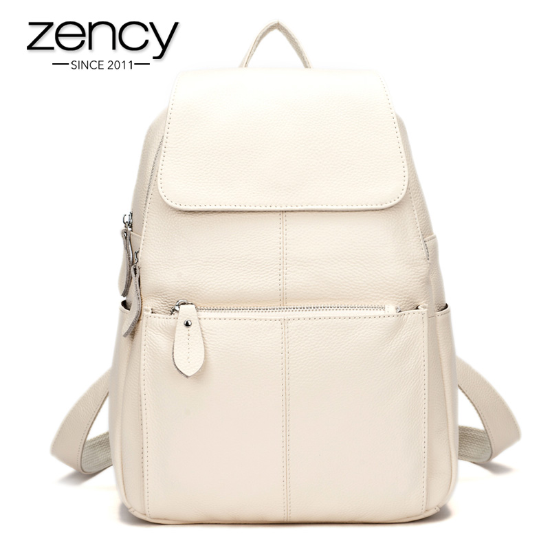 Fashion Summer Color 100 Genuine Leather Casual Women s font b Backpacks b font Brief Casual