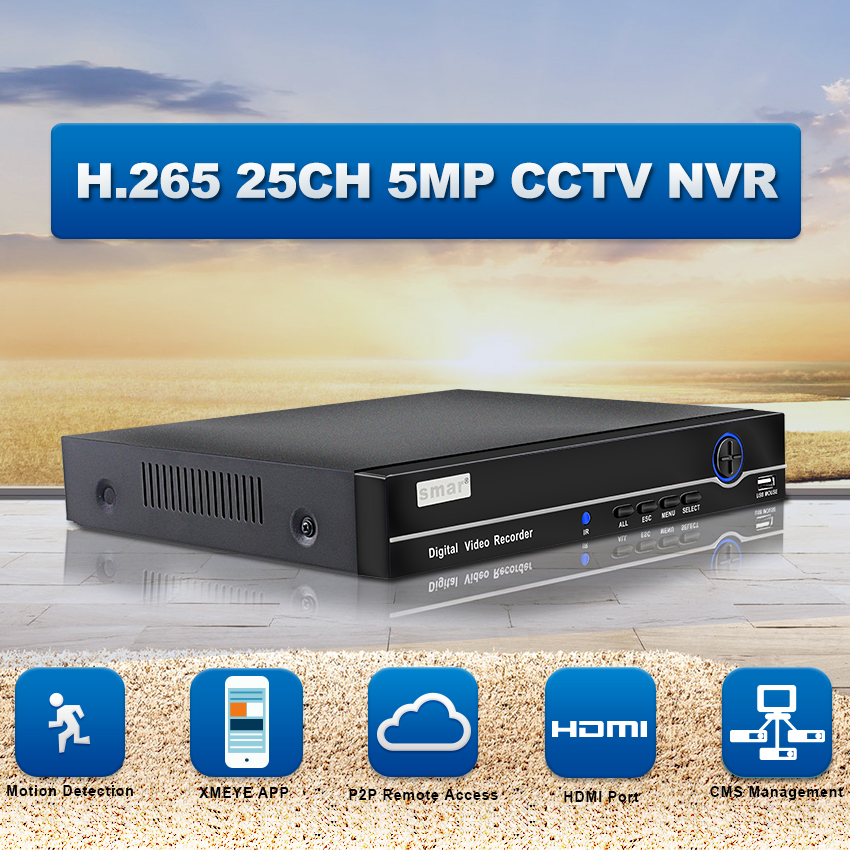 Smar H.265 NVR FULL HD 25CH 5MP 8CH 4 k P2P Network Video Recorder ONVIF HDMI VGA Vigilância Suporte 3g WI-FI