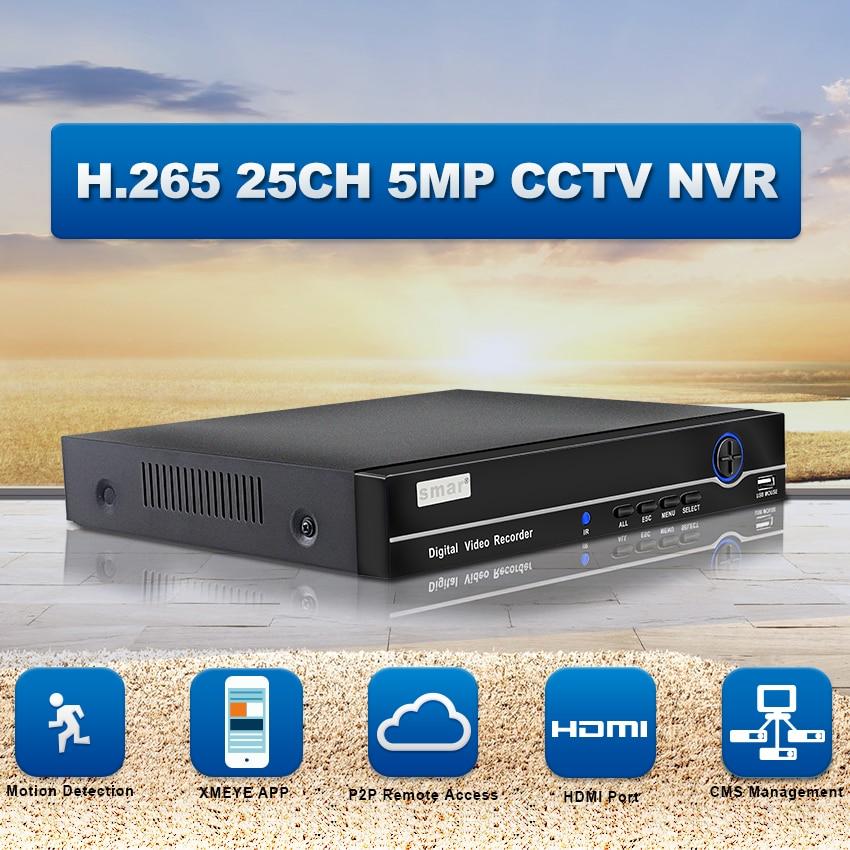 Smar H.265 NVR FULL HD 25CH 5MP 8CH 4K Network Video Recorder ONVIF P2P HDMI VGA Surveillance Support 3G WIFI