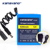 Kanavano New 12v 5200mAh 18650 Lithium Li ion Rechargeable battery Pack for CCTV camera and 12.6V 1A Charger+Free shopping