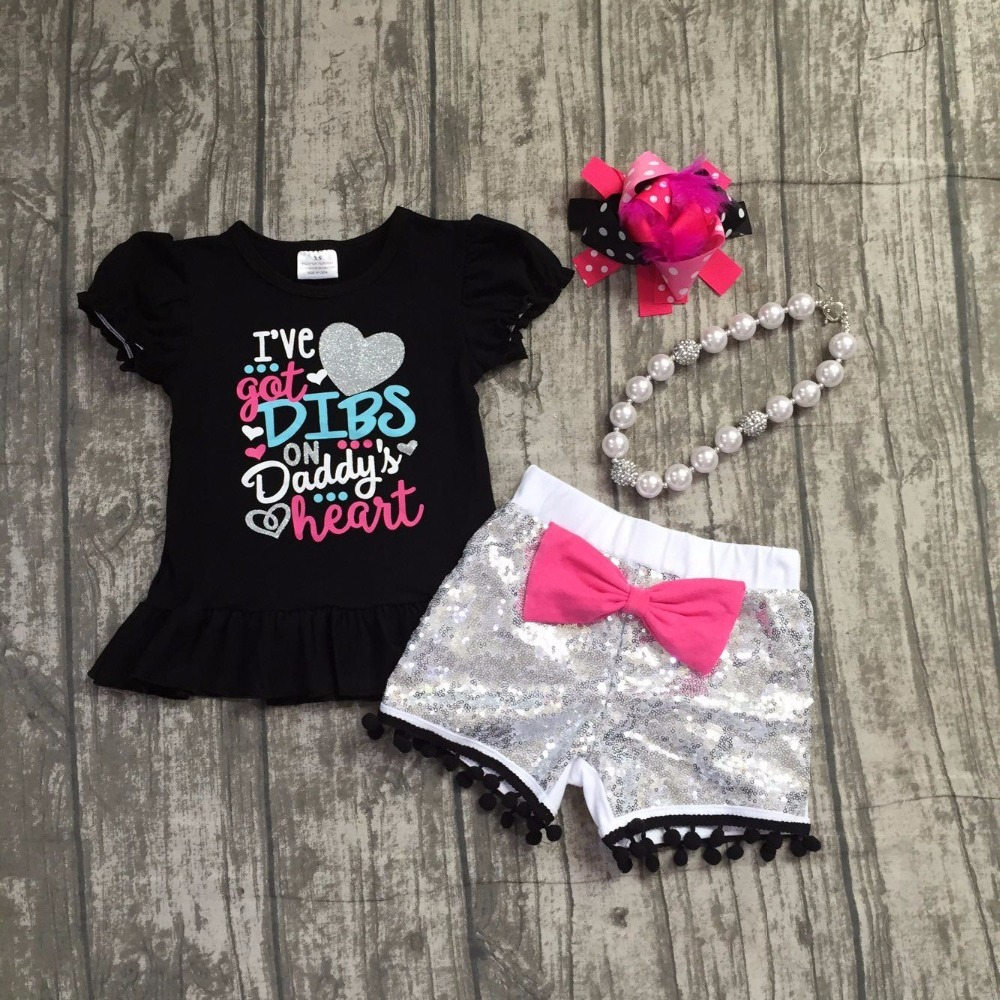 baby girls summer clothing girls I've got DIBS on Daddy's hearts clothes girls top with sliver sequin shorts with accessories