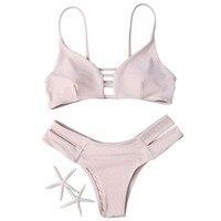 Summer Lady Swimwear Bandage Bikini Sexy Beach Swimsuit Bathing Suit Brazilian Bikini Set Flesh Color Elastic