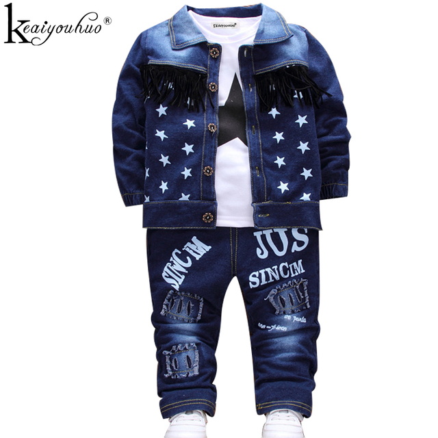 KEAIYOUHUO Children Clothing Sets Autumn Sport Suit Baby Boys Clothes Slong Sleeve Set Costume For Kids Jacket+Tshirt+Jeans 3Pcs
