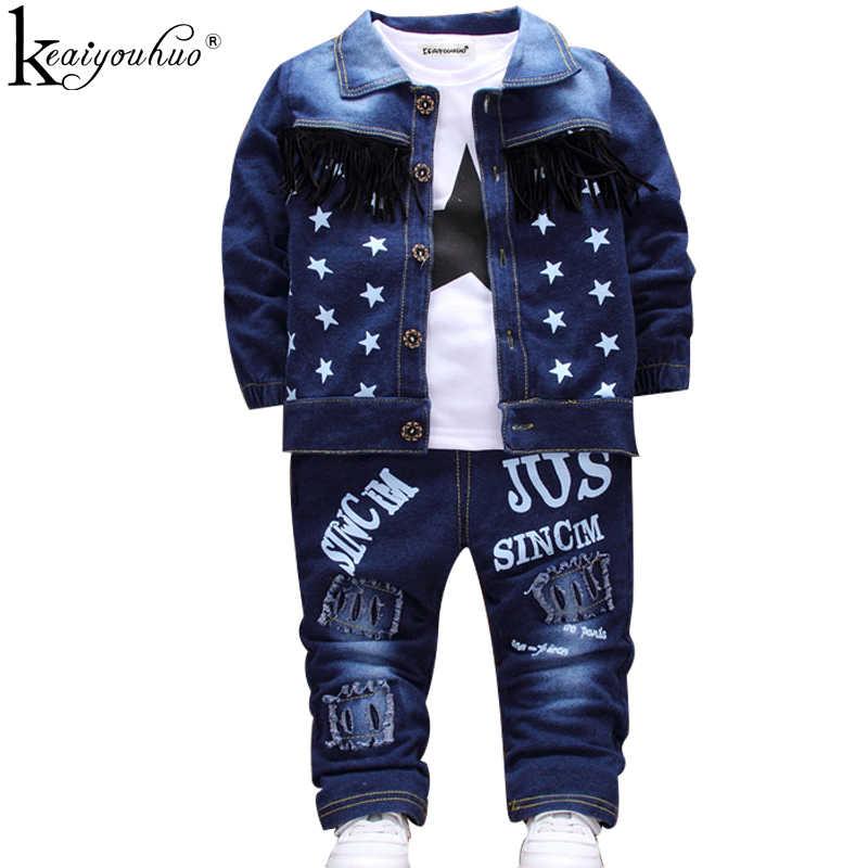 Ropa de niños Otoño Invierno niños traje deportivo Bebé Ropa para chico establece niños ropa chaqueta de mezclilla + Camiseta + Jeans 3 uds trajes