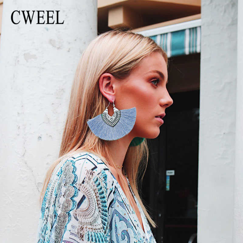 CWEEL Women's Long Tassel Earrings Fringe Earing Fashion Drop Vintage Ethnic Dangle Bohemian Statement Woman 2018 Earring