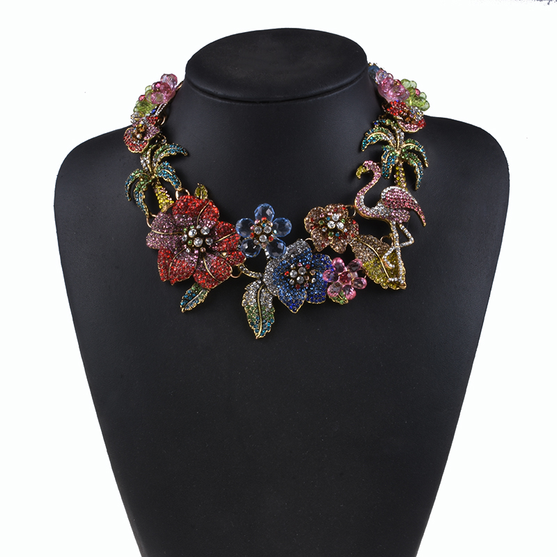 Image 5 - Colorful Luxury Rhinestone Large Choker Necklace Women Indian Statement ZA Necklace Crystal Flower Flamingo Necklace Jewelrydesigner jewelryjewelry designstatement choker -
