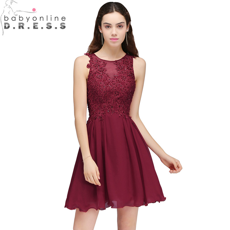 2017 New A Line Burgundy Appliques Homecoming Dresses 2017 ...