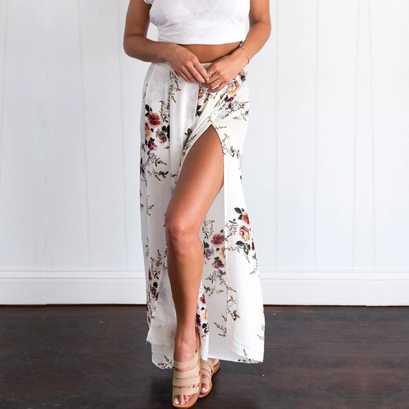 Summer Beach Floral Print Chiffon   Wide     Leg     Pants   Loose Trousers Women Side Split Casual Palazzo High Waist   Pants   Pantalon Femme